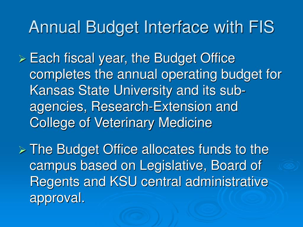 Annual Budget Interface with FIS