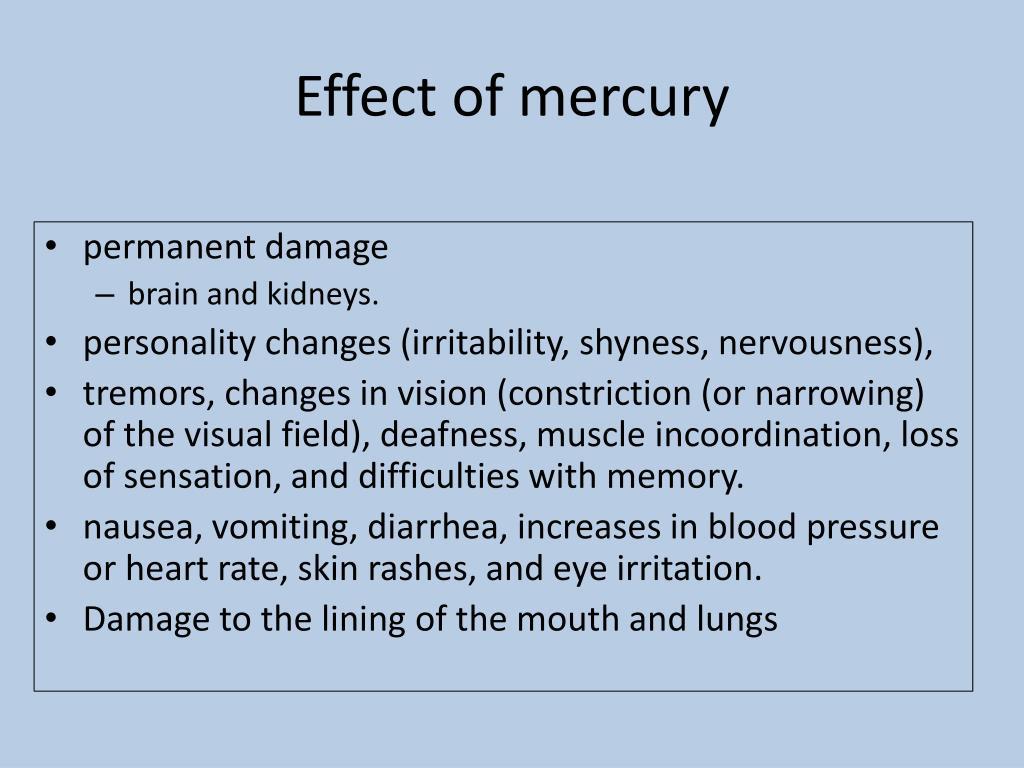 Effect of mercury