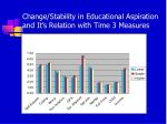 change stability in educational aspiration and it s relation with time 3 measures