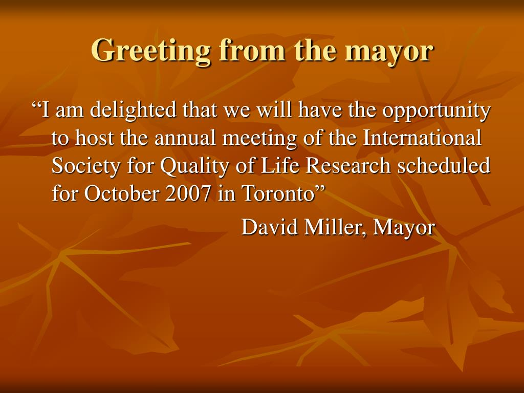 Greeting from the mayor
