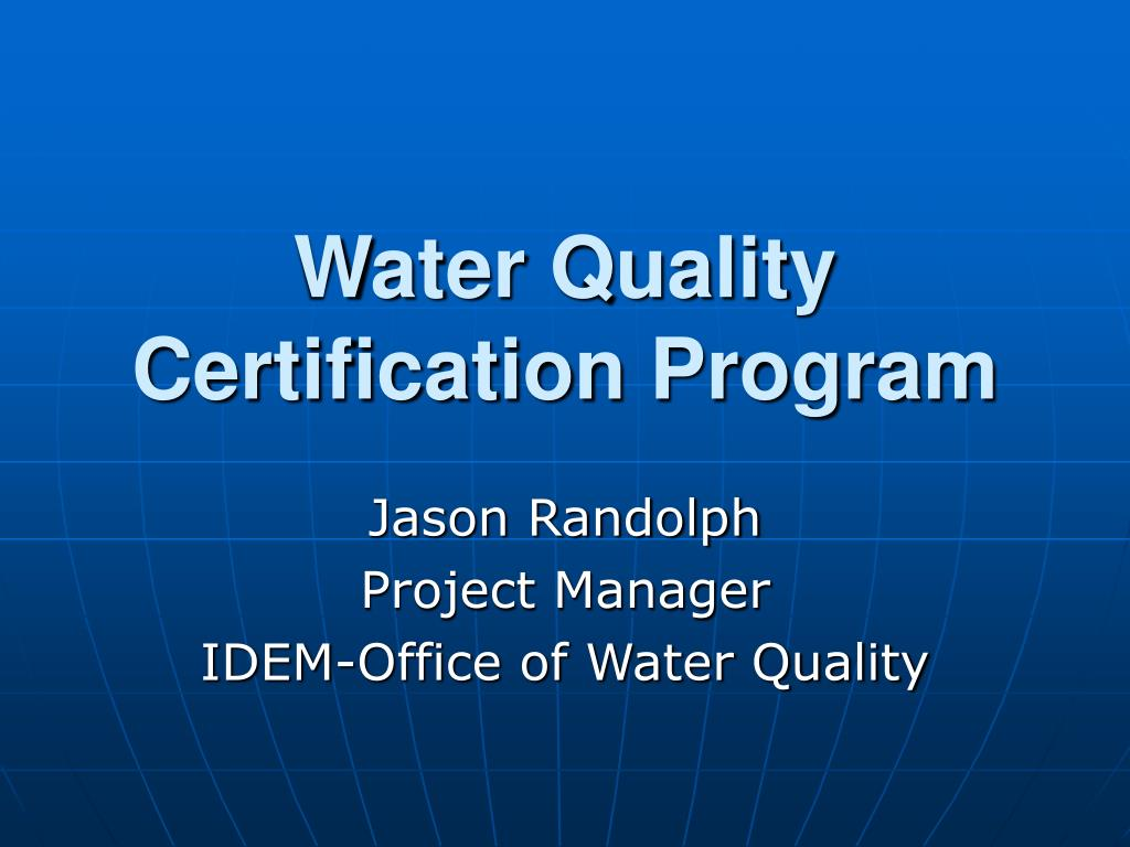 water quality certification program l.