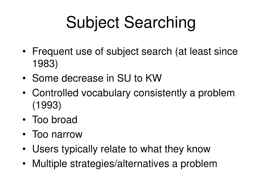 Subject Searching