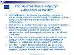 the medical device industry companies discussed