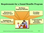 requirements for a sound benefits program