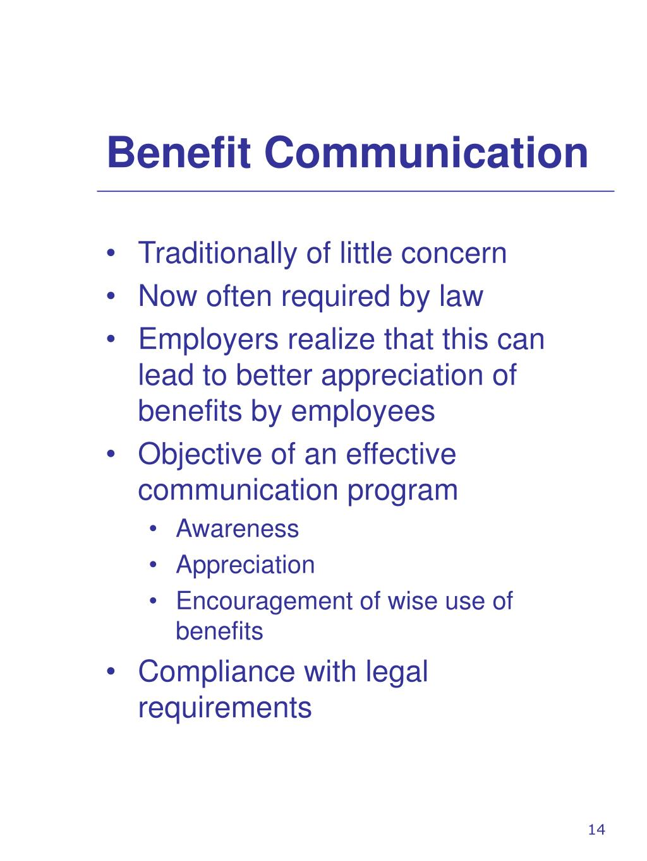 Benefit Communication