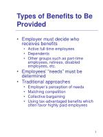 types of benefits to be provided