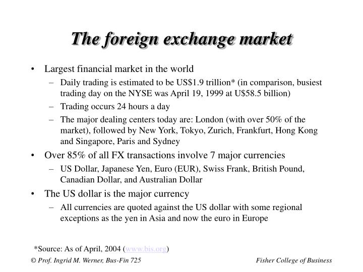 The foreign exchange market3