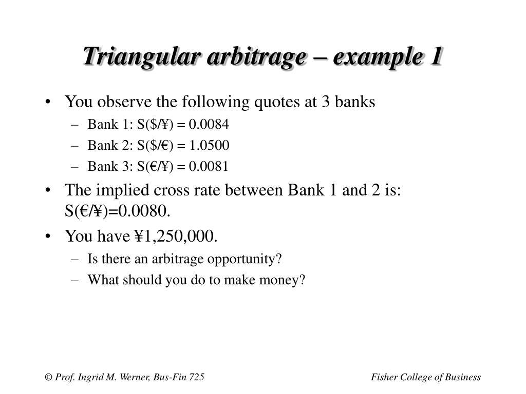 Triangular arbitrage – example 1