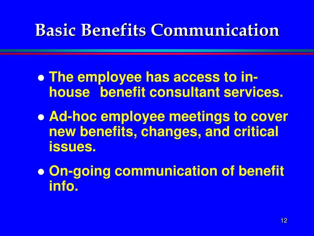 Basic Benefits Communication