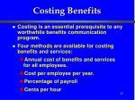costing benefits