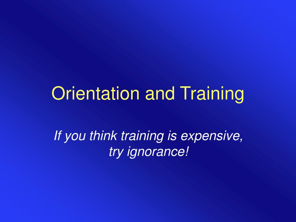 orientation and training l.
