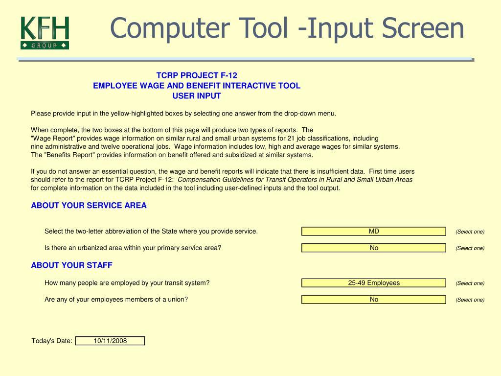 Computer Tool -Input Screen