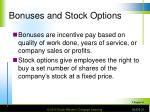 bonuses and stock options