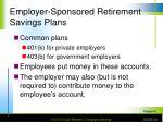 employer sponsored retirement savings plans
