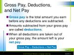 gross pay deductions and net pay