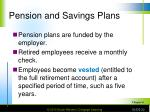 pension and savings plans