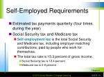 self employed requirements