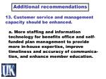 13 customer service and management capacity should be enhanced