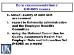 core recommendations ukhmo issues