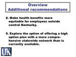 overview additional recommendations