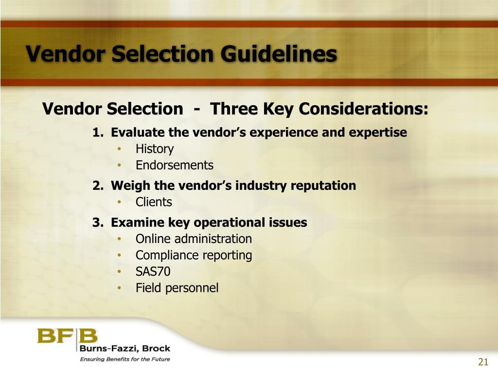 Vendor Selection Guidelines