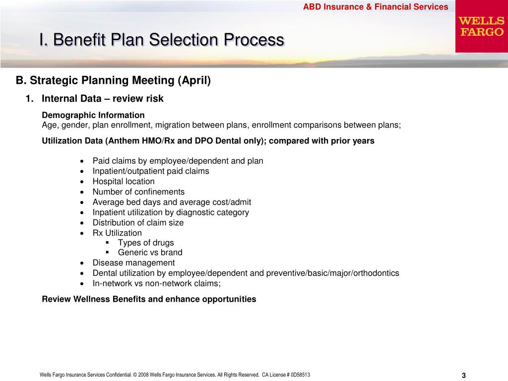 I. Benefit Plan Selection Process