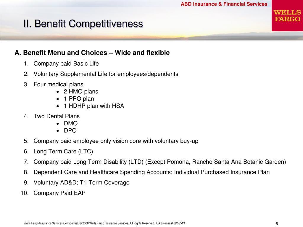 II. Benefit Competitiveness