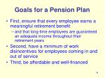goals for a pension plan