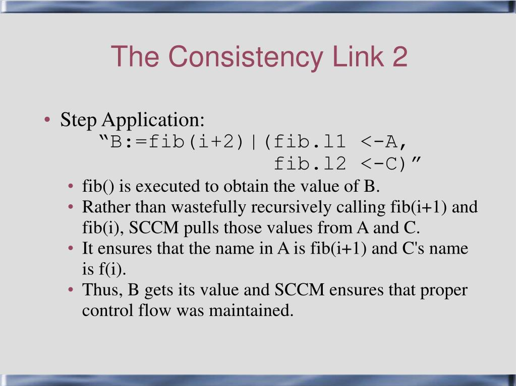 The Consistency Link 2