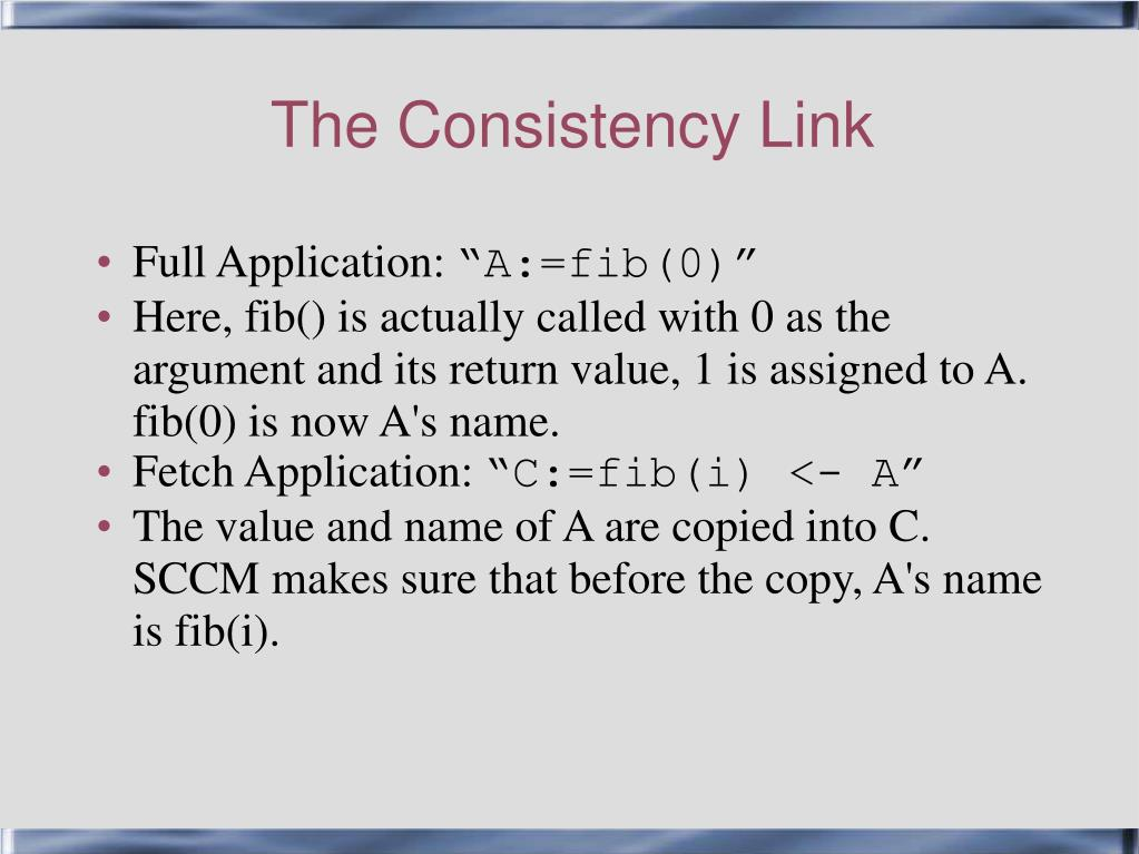 The Consistency Link