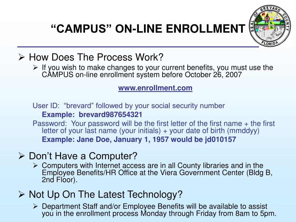 """CAMPUS"" ON-LINE ENROLLMENT"