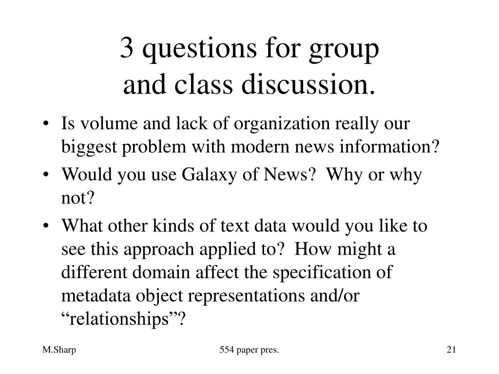 3 questions for group