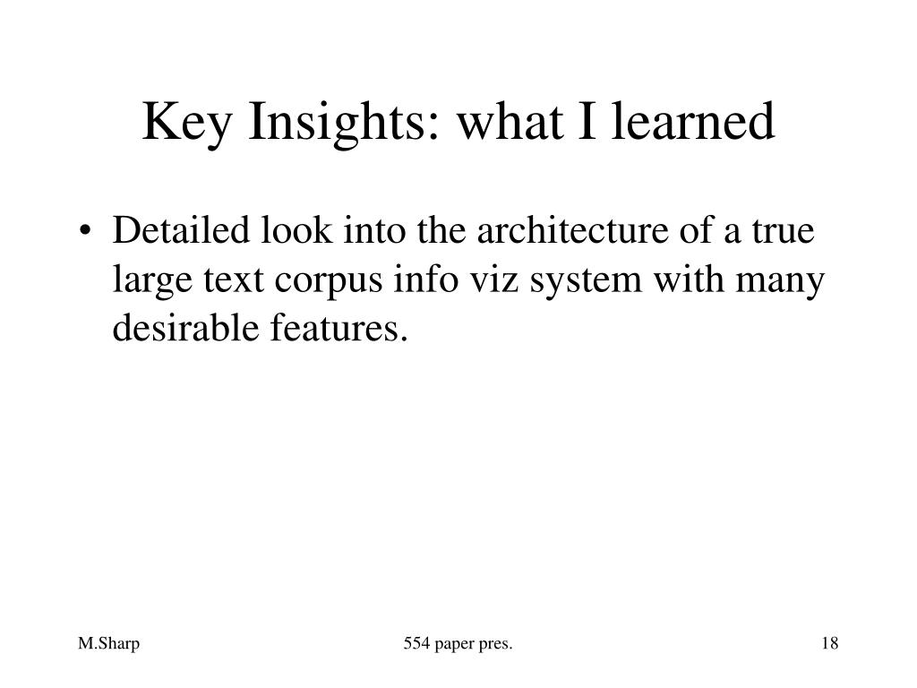 Key Insights: what I learned