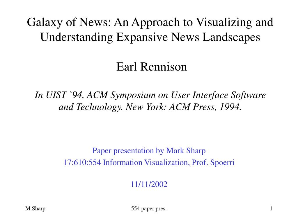 paper presentation by mark sharp 17 610 554 information visualization prof spoerri 11 11 2002 l.