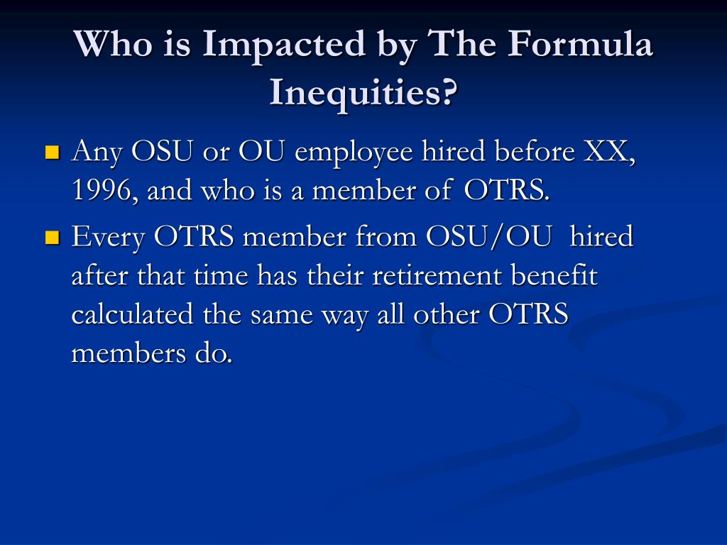 Who is Impacted by The Formula Inequities?