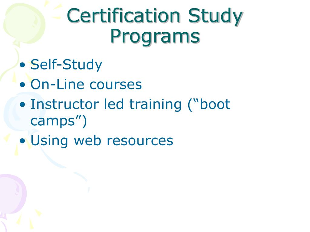 Certification Study Programs