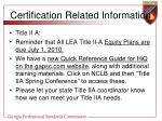 certification related information30