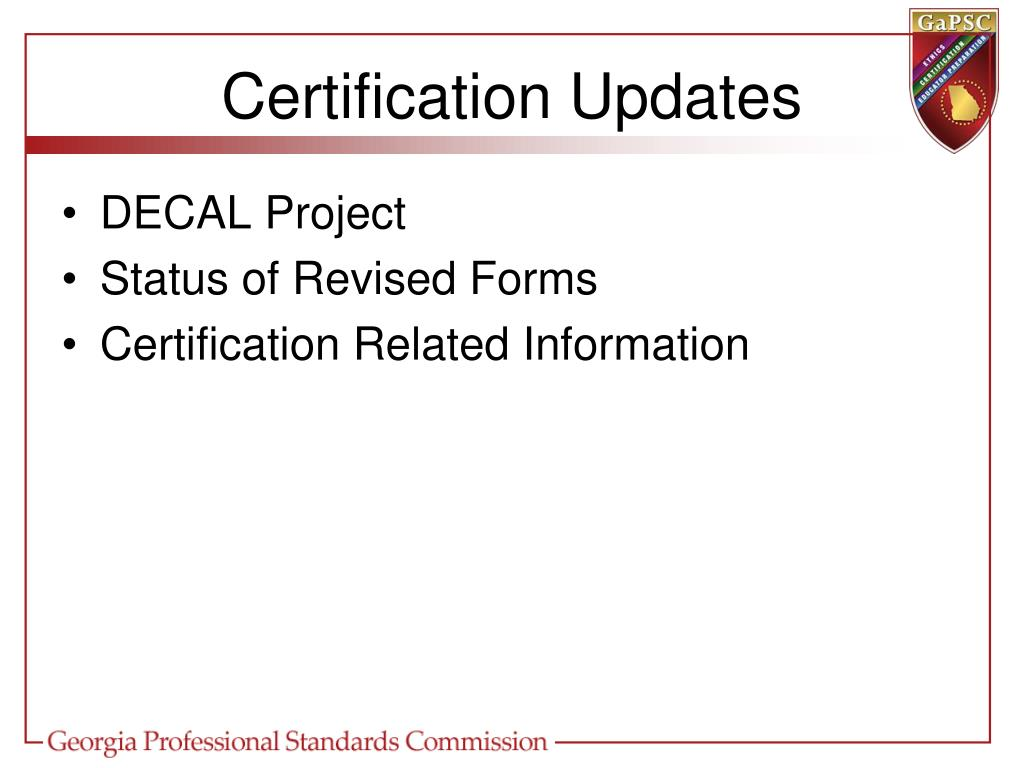 Certification Updates