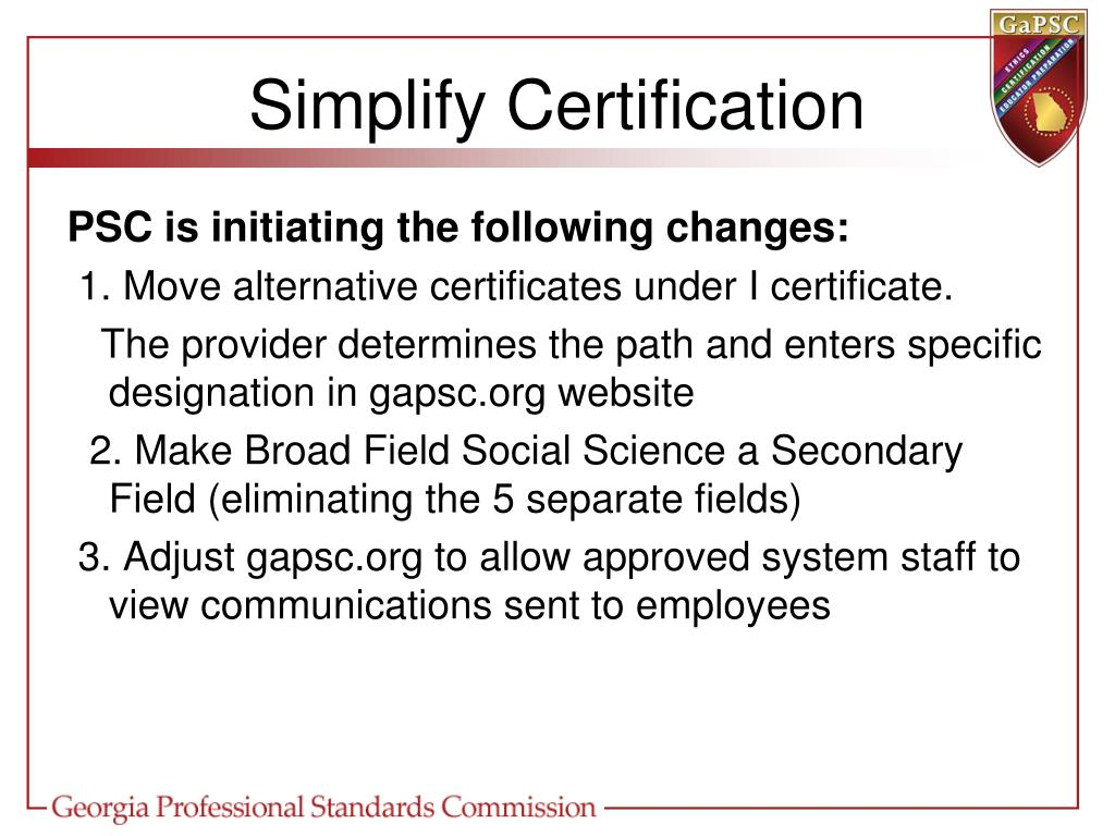 Simplify Certification