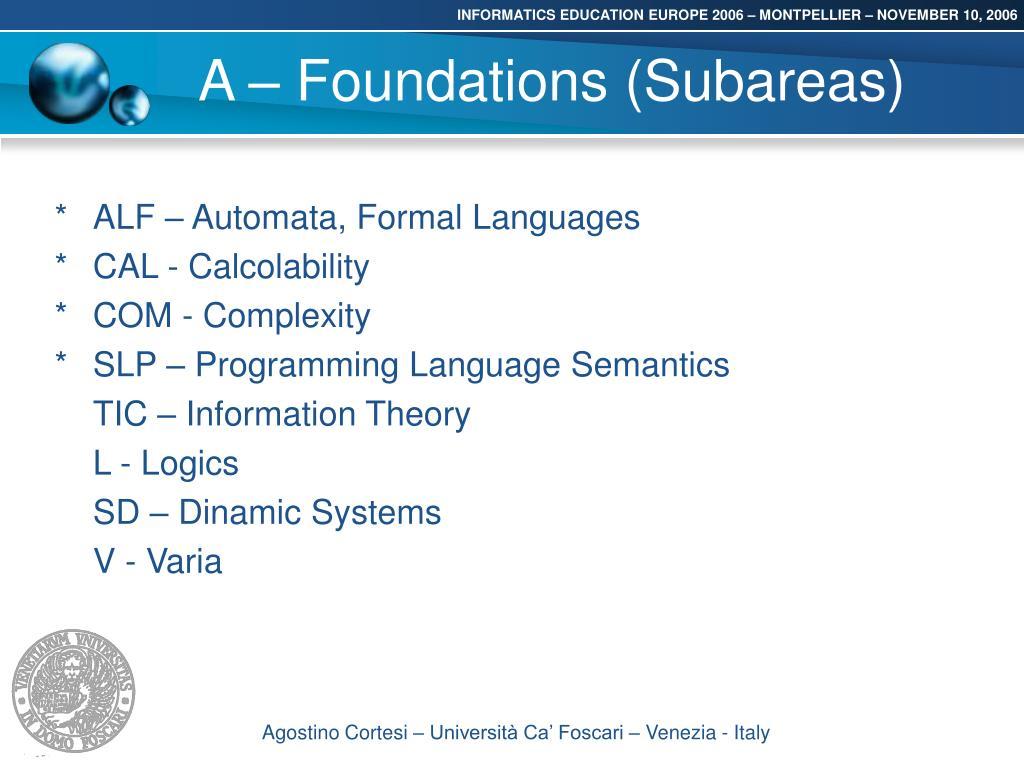 A – Foundations (Subareas)