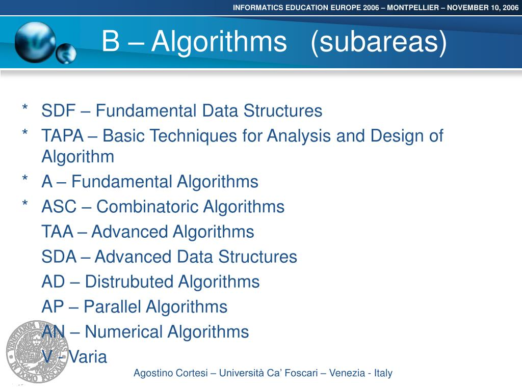 B – Algorithms(subareas)