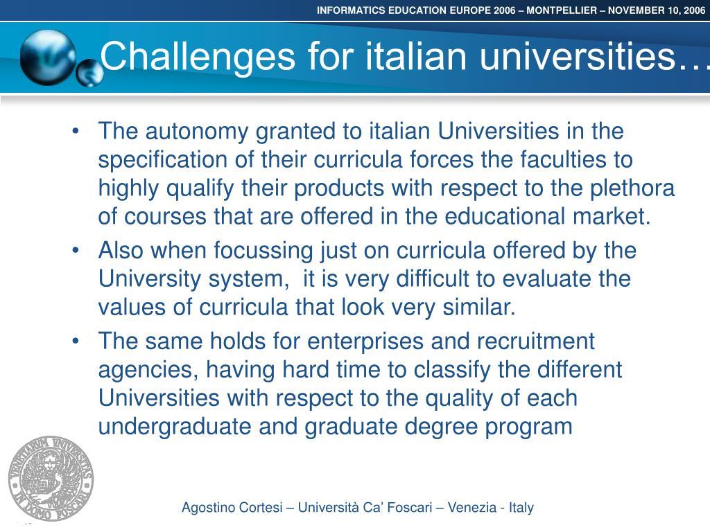 Challenges for italian universities…