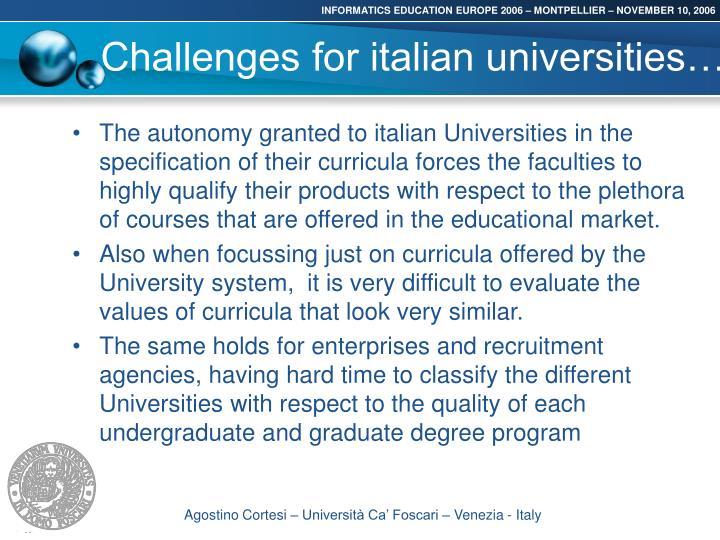 Challenges for italian universities