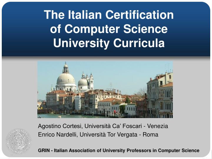 The italian certification of computer science university curricula