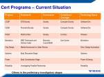 cert programs current situation