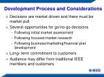 development process and considerations