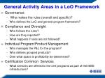 general activity areas in a loo framework