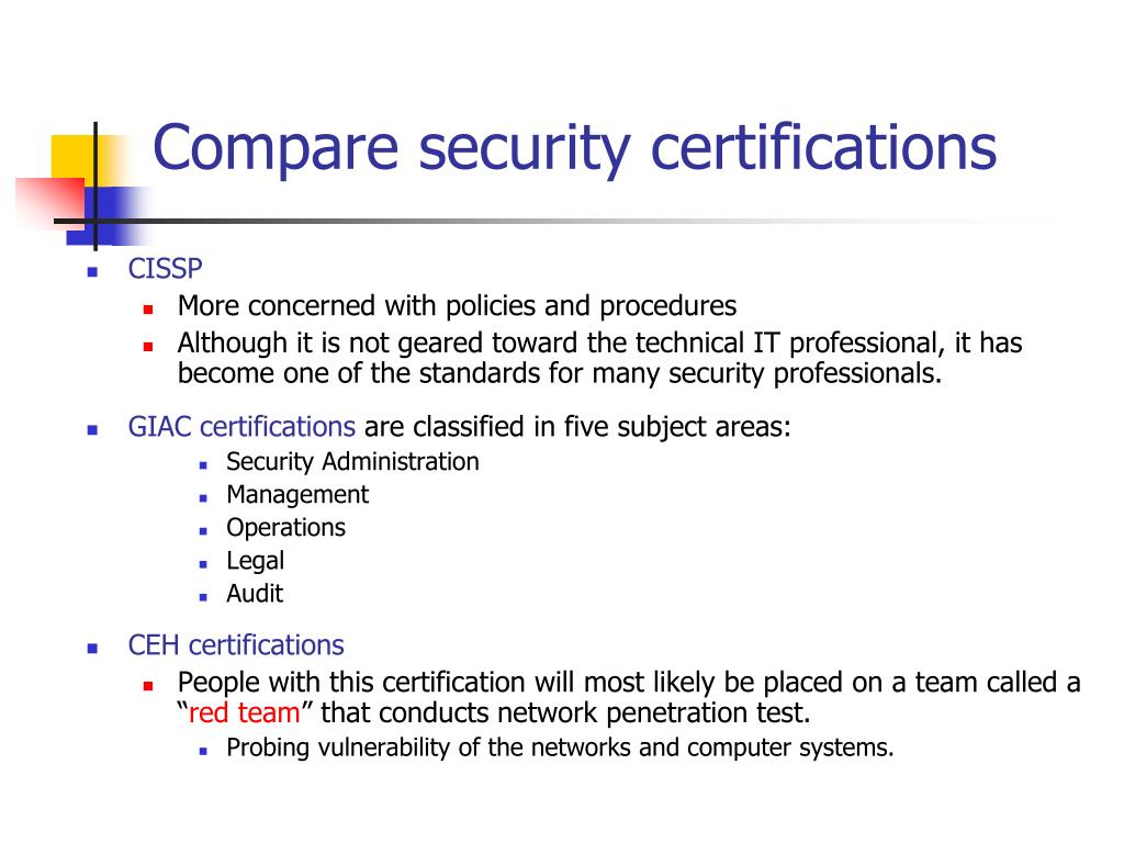 Compare security certifications