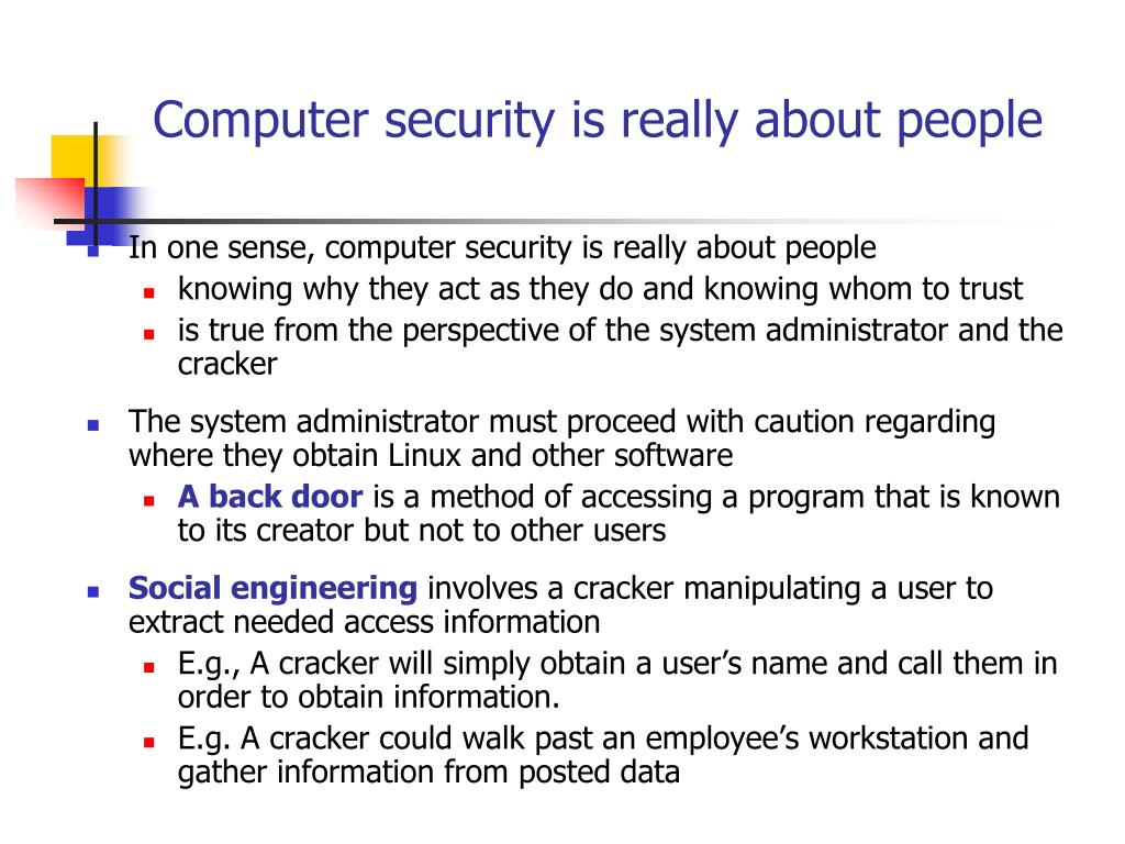 Computer security is really about people