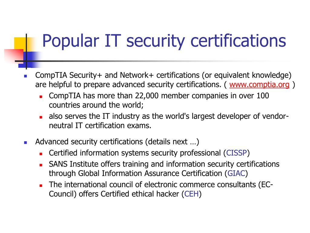 Popular IT security certifications